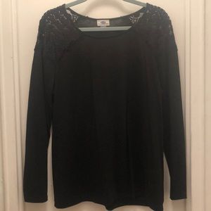 Black Top with Lacy Shoulder Inset